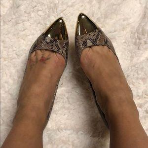 Steve Madden Snake Skin with Gold Toe Heel